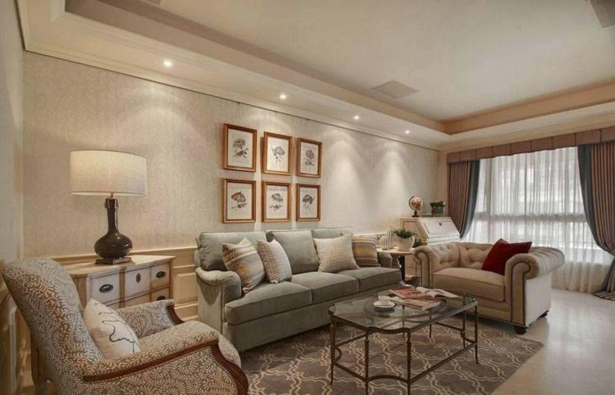 简约欧式风格大户型客厅背景墙装修图片-简约欧式风格
