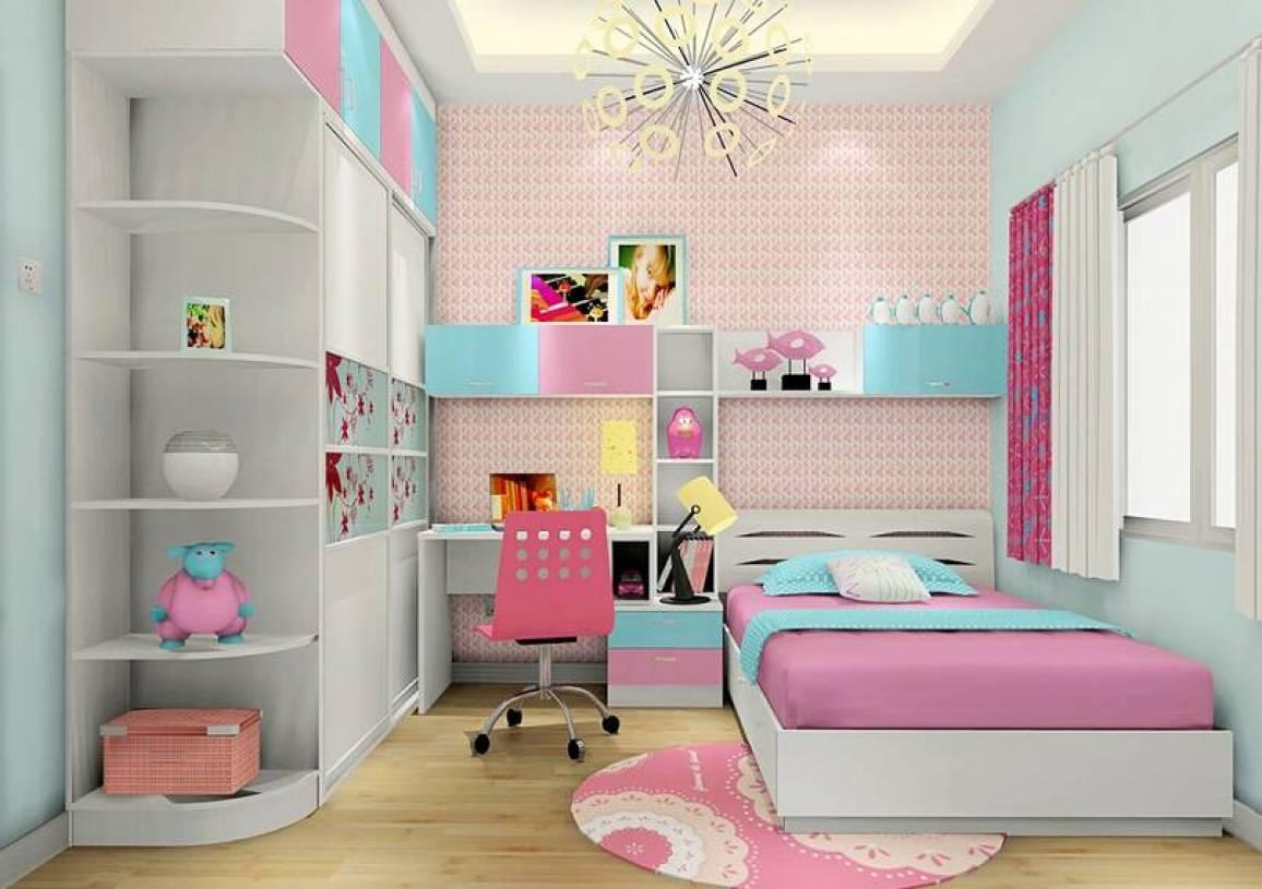 现代简约风格女孩儿童房壁纸装修效果图