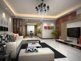 现代简约风格小户型客厅电视背景墙装修效果图-现代简约风格电视柜图片