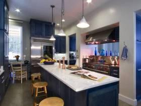 地中海风格开放式厨房吧台装修图片-地中海风格吧台椅图片