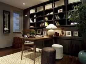 简约中式风格别墅书房创意收纳装修效果图-简约中式风格书桌图片