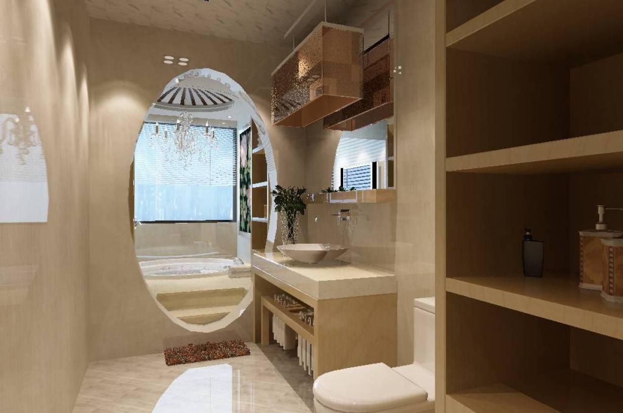 260㎡别墅新中式风格厕所墙面装饰装修效果图-新中式卫浴柜图片