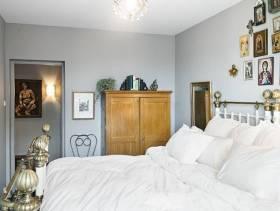 56㎡北欧风格卧室背景墙装修图片-北欧风格实木衣柜图片