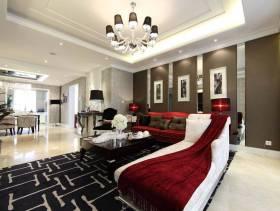 120㎡三居简约欧式风格客厅沙发背景墙装修图片-简约欧式风格沙发床图片