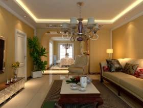 110㎡三居室简欧风格客厅吊顶装修效果图-简欧风格茶几图片