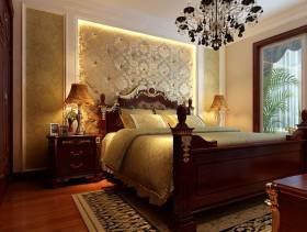 132㎡三居室欧式风格卧室床头背景墙装修效果图-欧式风格床图片