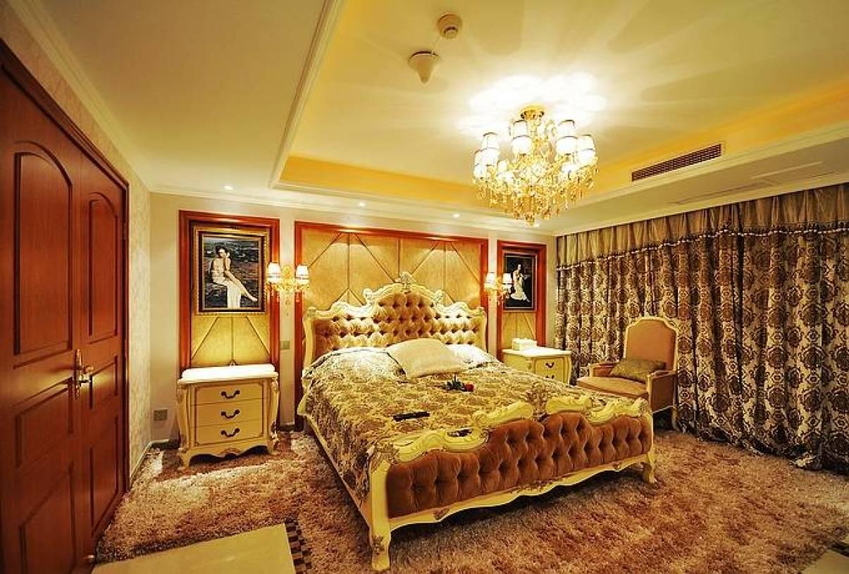欧式风格主卧室背景墙装修图片-欧式风格床图片