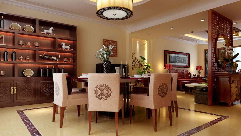 160新中式图片三居餐厅风格墙装修效果图-新中式公司风格餐桌餐椅青岛开发区装修设计背景图片