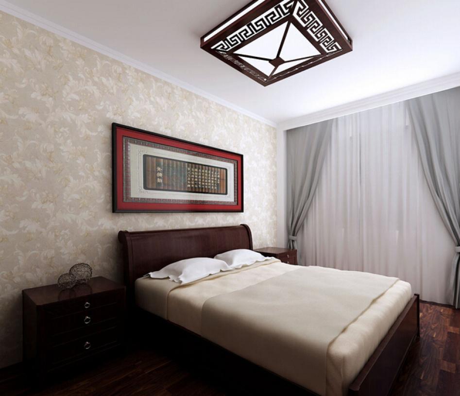 简约中式风格卧室床头背景墙装修效果图-简约中式风格