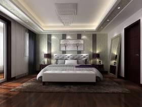 350㎡联排别墅现代简约风格卧室床头背景墙装修效果图-现代简约风格穿衣镜图片
