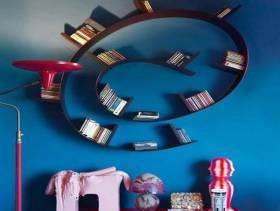 简约风格墙面创意收纳设计图片-简约风格书架图片