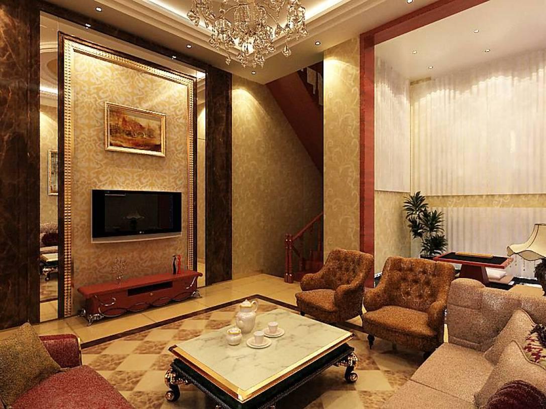400m别墅简约欧式风格客厅电视背景墙装修效果图,简约欧式风格茶几