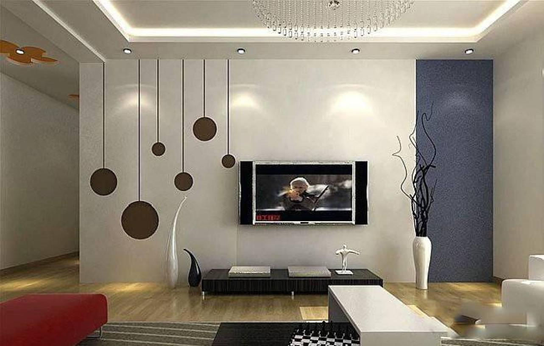 现代简约风格小户型客厅吊顶装修效果图-现代简约风电视柜图片