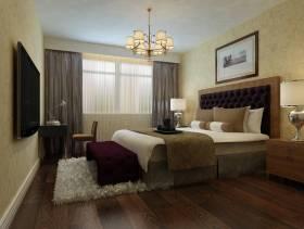 简约欧式风格三居室卧室窗帘装修效果图-简约欧式风格吊灯图片