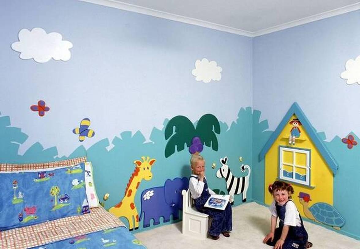 简约风格儿童房墙体彩绘装修图片-简约风格单人床图片