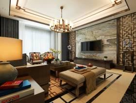 大户型客厅山水纹石材电视背景墙装修效果图