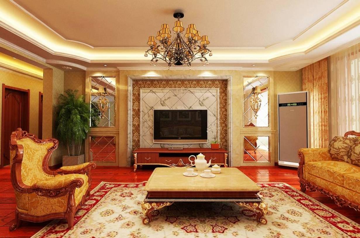 平米欧式风格客厅电视背景墙装修效果图,三居160平米欧式风格茶几图片