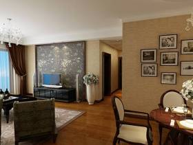 现代风格客厅电视背景墙装修效果图-现代风格电视柜图片