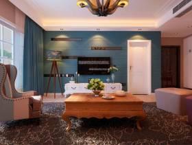 田园风格四居室客厅电视背景墙装修效果图-田园风格单人沙发图片