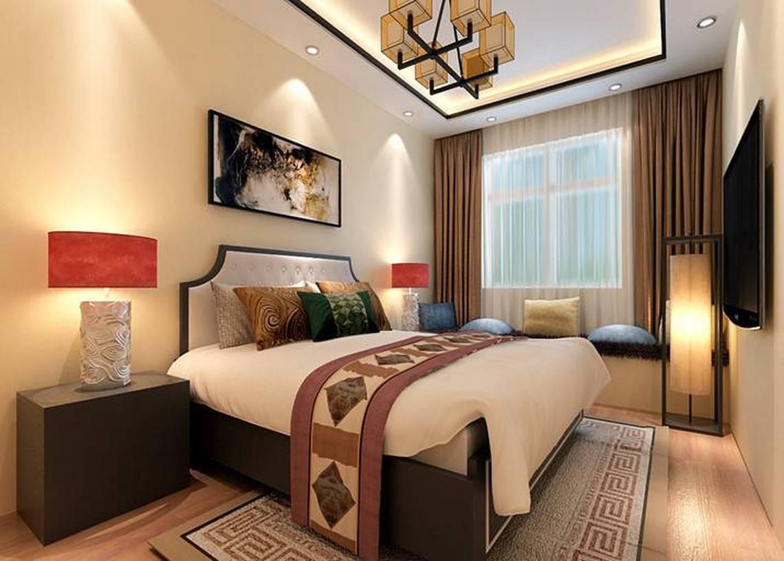 新中式风格卧室吊顶装修效果图-新中式风格床图片