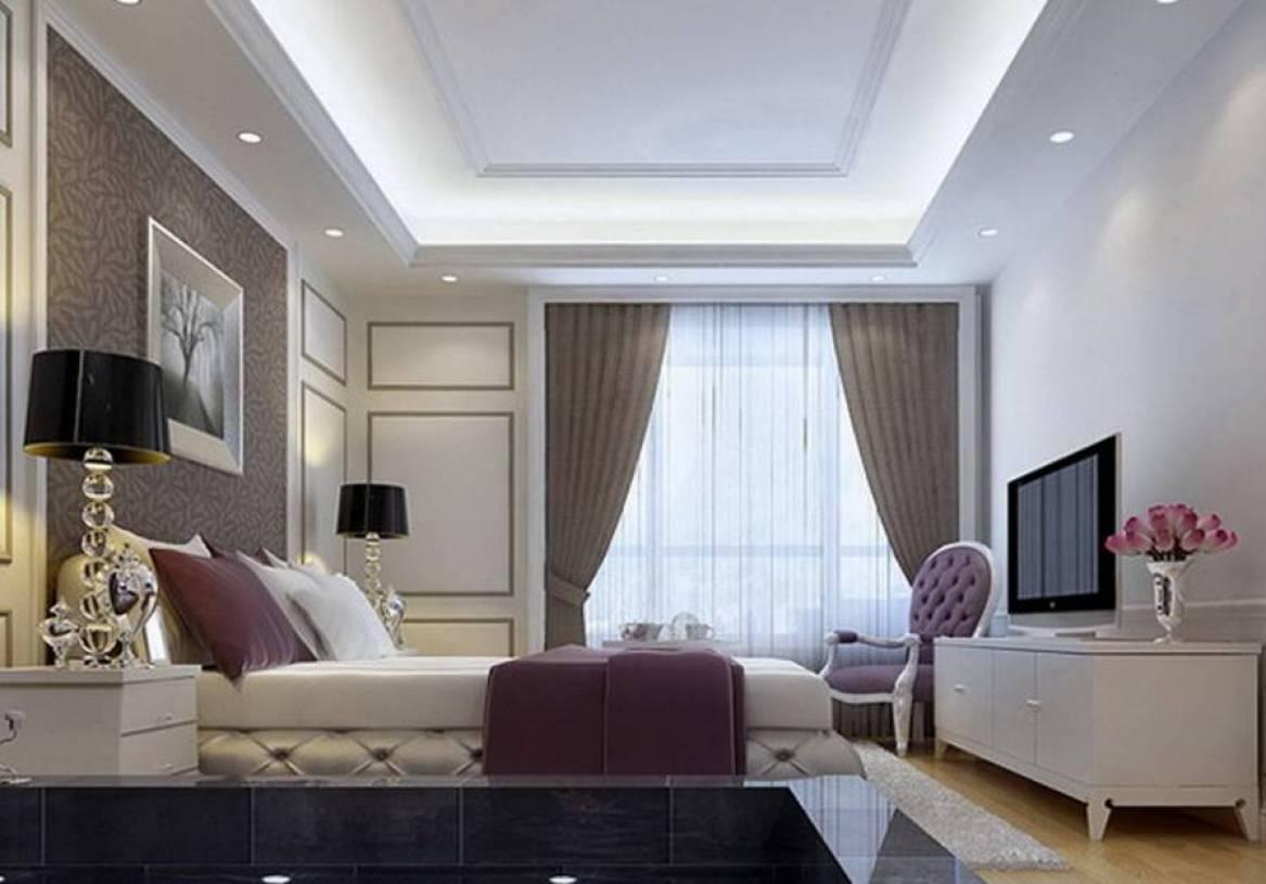 简约欧式风格卧室吊顶装修效果图-简约欧式风格卧室窗户图片