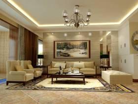 简欧风格平层三居客厅背景墙装修效果图-简欧风格脚凳图片