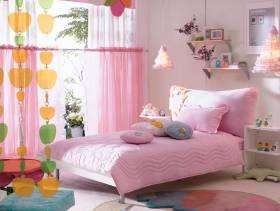 简约风格女生卧室窗帘装修图片-简约风格床图片