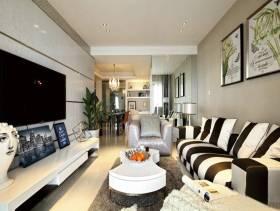平房现代风格客厅电视背景墙装修图片,现代风格白色茶几图片