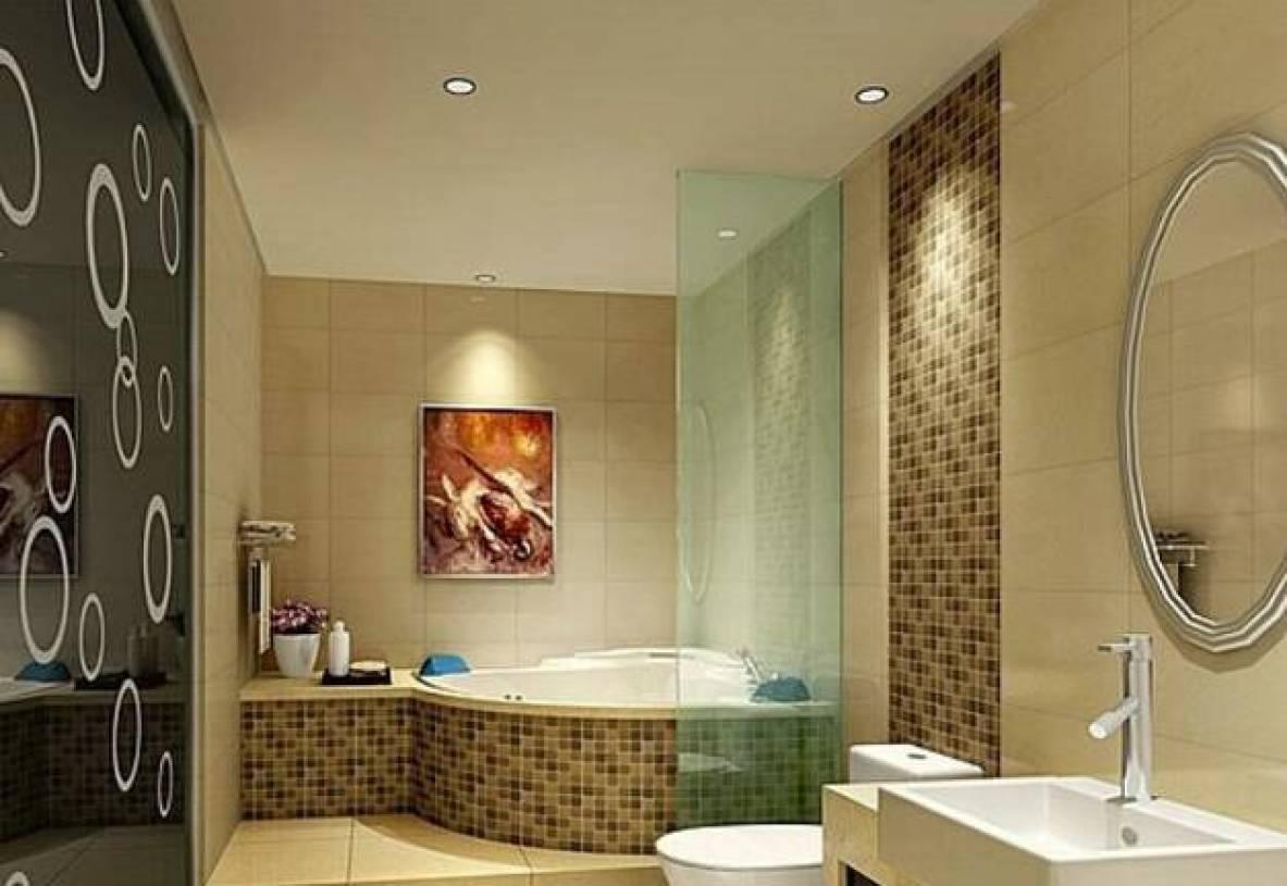 现代风格小面积卫浴马赛克背景墙装修图片-现代风格浴缸图片