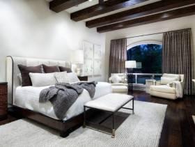 美式乡村风格小户型卧室背景墙装修效果图-美式乡村风格窗帘杆图片