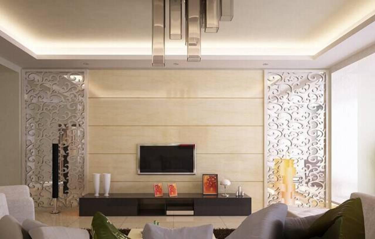 现代风格客厅灰镜雕花电视背景墙装修效果图-现代风格玻璃电视柜图片