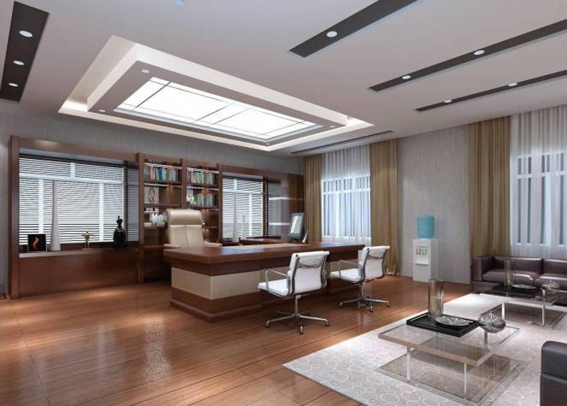 30㎡现代风格老总办公室吊顶装修效果图-现代风格办公