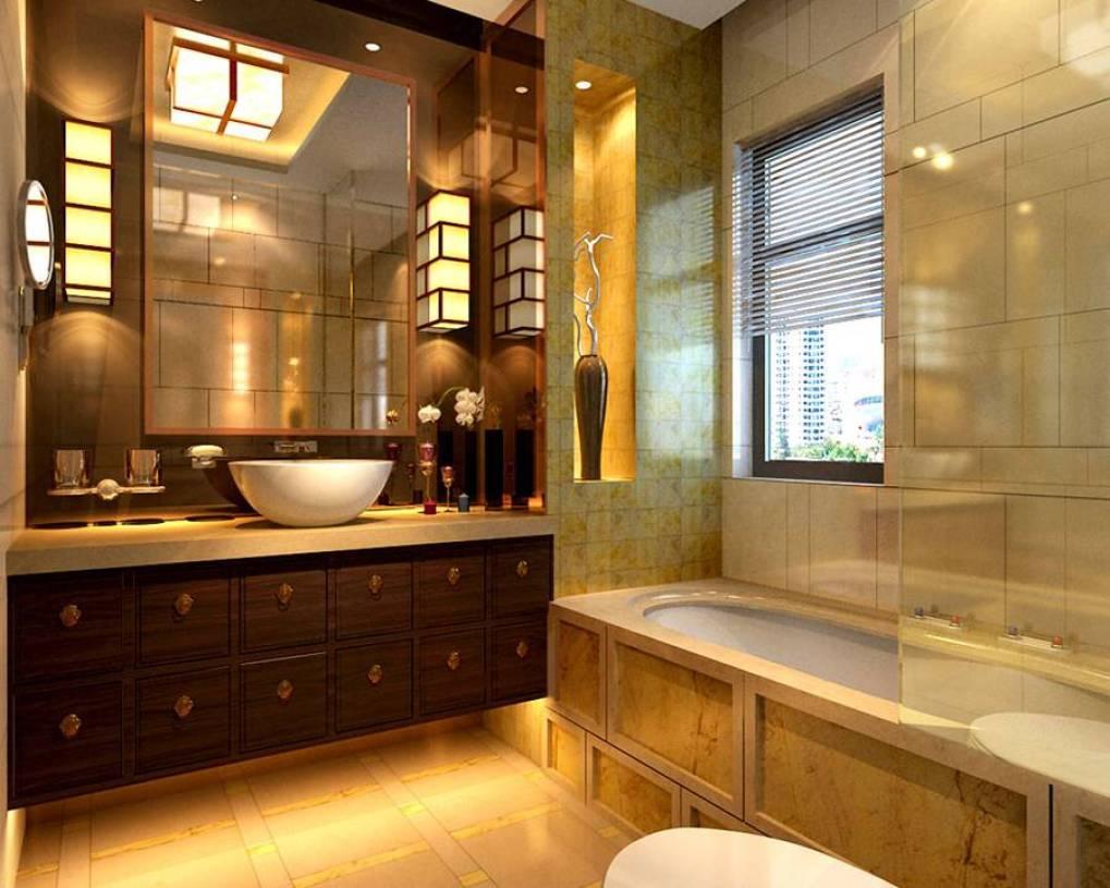 中式风格浴室装修效果图,中式风格面盆柜图片