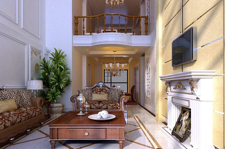 欧式风格复式楼客厅沙发背景墙装修图片-欧式风格沙发图片