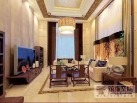 中式风格客厅吊顶装修效果图-中式风格电视柜图片
