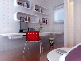简约风格儿童房墙面壁纸装修图片-简约风格电脑椅图片