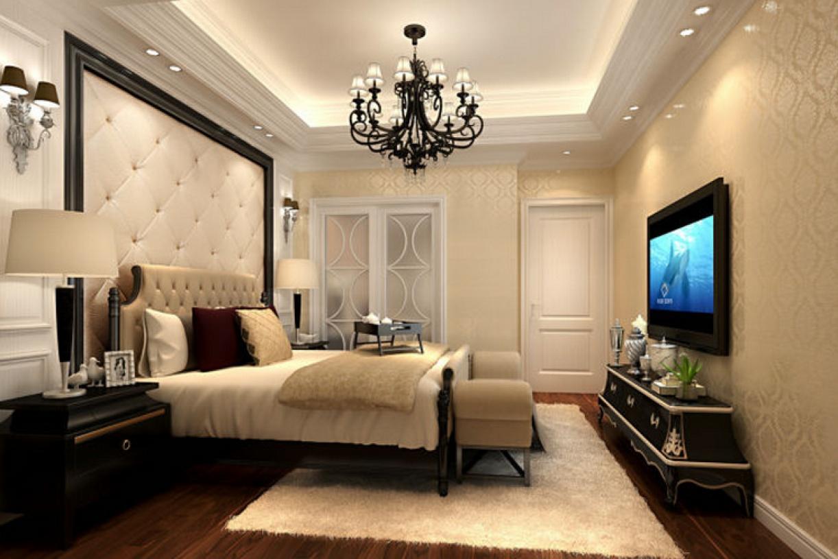 简欧风格卧室背景墙装修效果图-简欧风格床图片图片