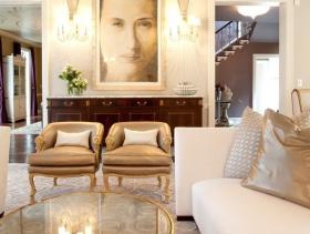 简约欧式风格客厅背景墙装修图片-简约欧式风格沙发图片