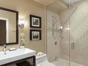 现代简约风格卫生间玻璃隔断装修效果图-现代简约风格面盆图片