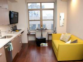简约风格小户型公寓开放式厨房装修图片-简约风格橱柜图片
