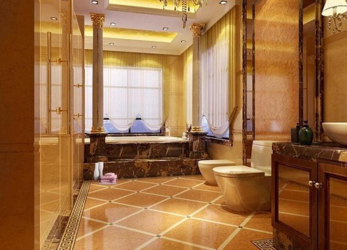 简欧风格浴室装修效果图-简欧风格浴缸图片