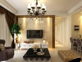 115㎡大户型简欧风格客厅电视背景墙装修效果图-简欧风格脚凳图片