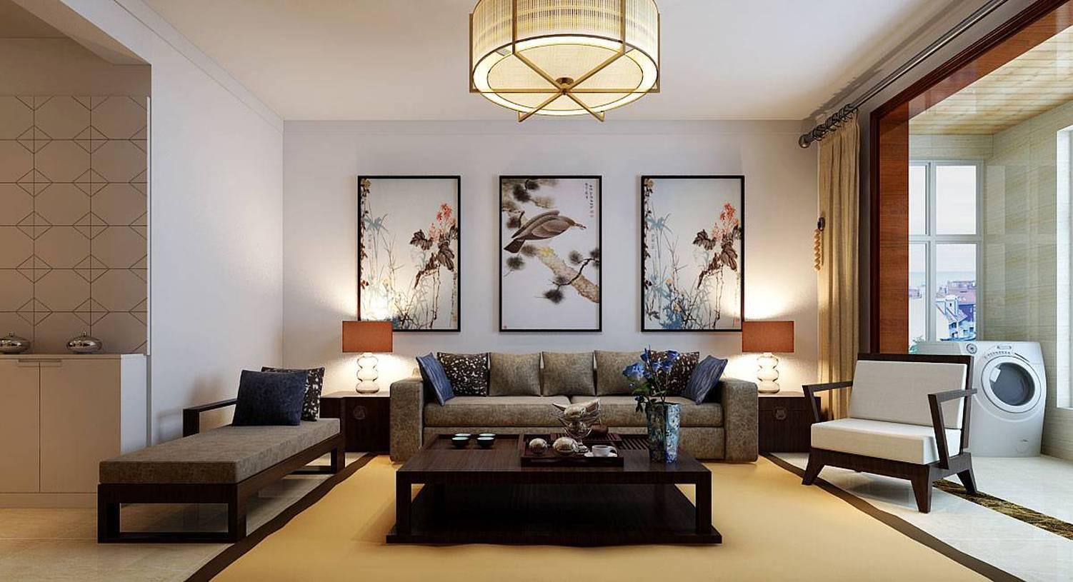新中式风格二居客厅沙发背景墙装修效果图,新中式风格