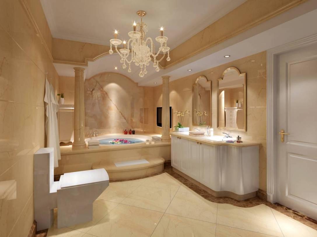 简欧风格别墅浴室装修效果图-简欧风格浴缸图片