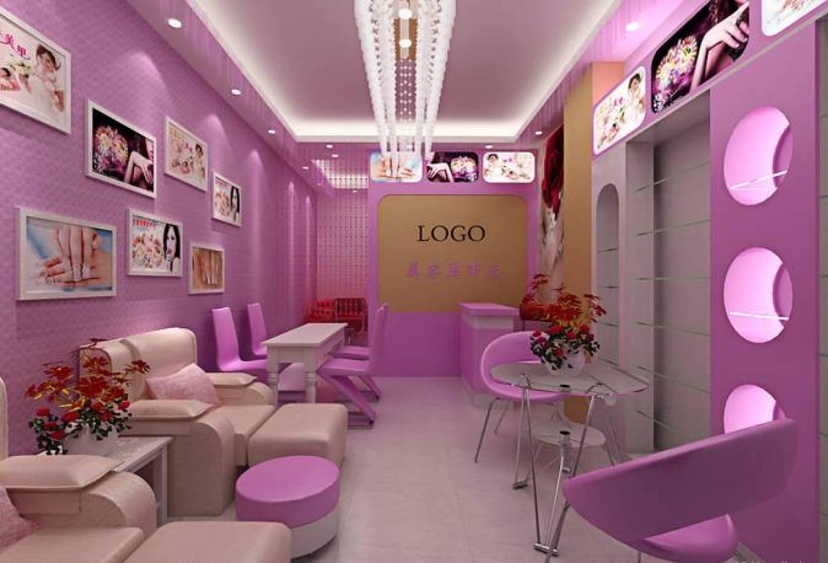 现代风格美甲店工作间背景墙装修图片-现代风格单人休闲椅图片