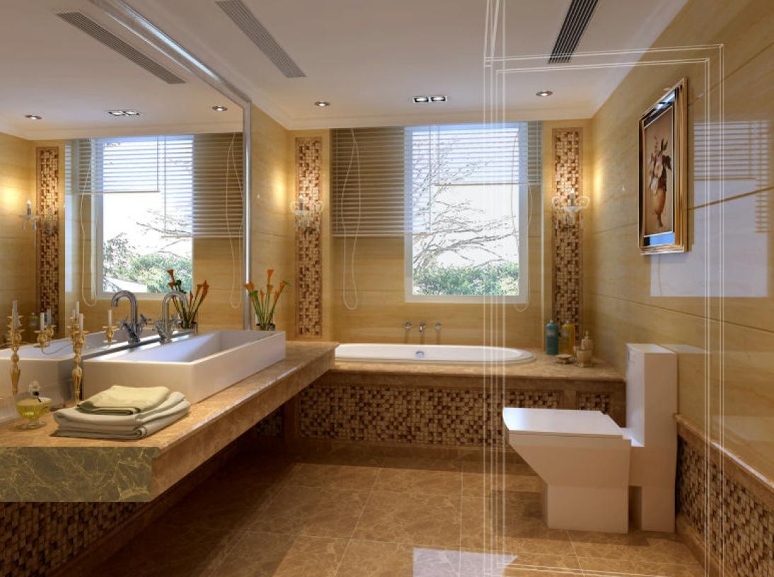 简约欧式风格浴室瓷砖背景墙装修效果图-简约欧式风格