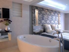 现代风格一居室卧室背景墙装修效果图-现代风格双人床图片