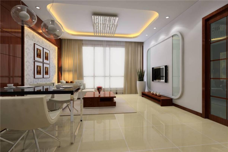 130㎡3室2厅1厨2卫现代简约风格客厅吊顶装修效果图-现代简约风格茶几