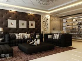 154㎡简约欧式风格三室两厅两卫客厅沙发背景墙装修效果图