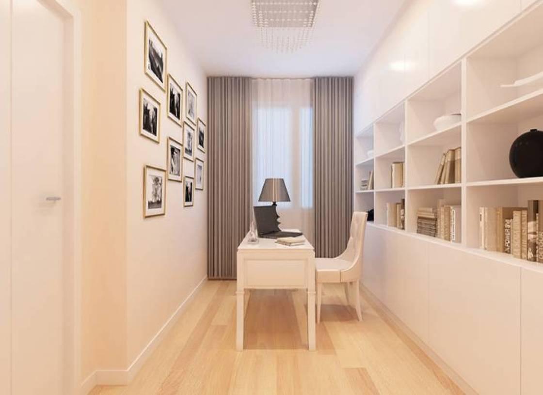 100㎡现代简约风格二居书房背景墙装修效果图-现代简约风格书桌图片